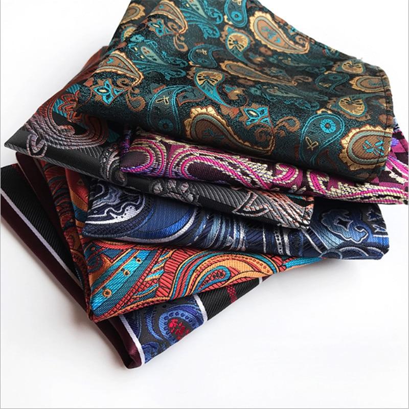 Square Plaid Stripe Handkerchiefs Men Classic Vintage Pocket Pocket Cotton Towel For Wedding Party 25*25cm Suit Accessories