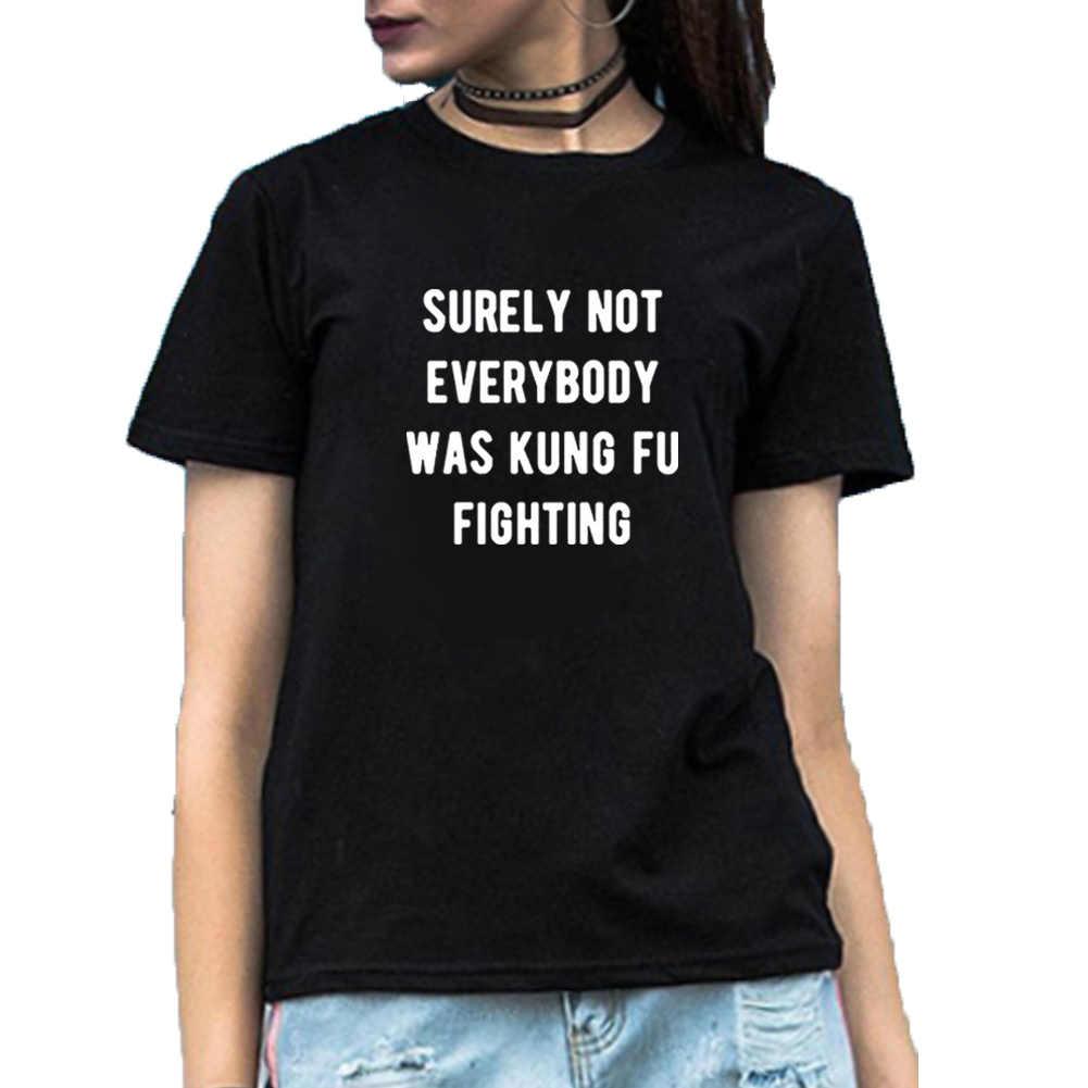 きっとない、誰もだったカンフーおかしい Tシャツ女性の夏の半袖コットン Tシャツファム黒白ゆるい tシャツ女性