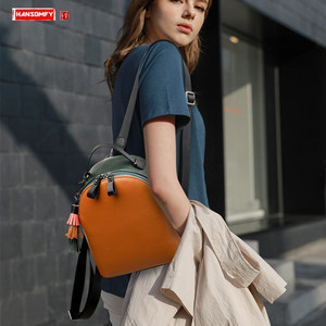 Image 1 - 2020 New Genuine Leather Women Backpack Shoulder Bag Female Small Tassel Backpacks Fashion Casual Travel Bag First Layer Leather
