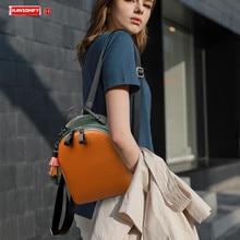 Mochila De piel auténtica para mujer, bolso de hombro con borlas pequeñas, informal, de viaje, de primera capa, 2020