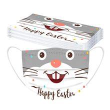 10 pçs coelho impresso máscara das crianças feliz páscoa máscara protetora descartável proteção 3 camada dos desenhos animados não tecido boca tampas masque