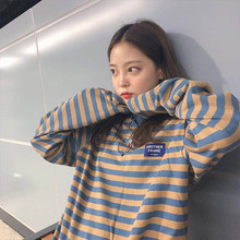Korean Ulzzang O-Neck Striped T-shirt Women Casual Long Sleeve  Loose T-Shirt Color Block Retro Cotton T-Shirts Femmal color block single pocket t shirt