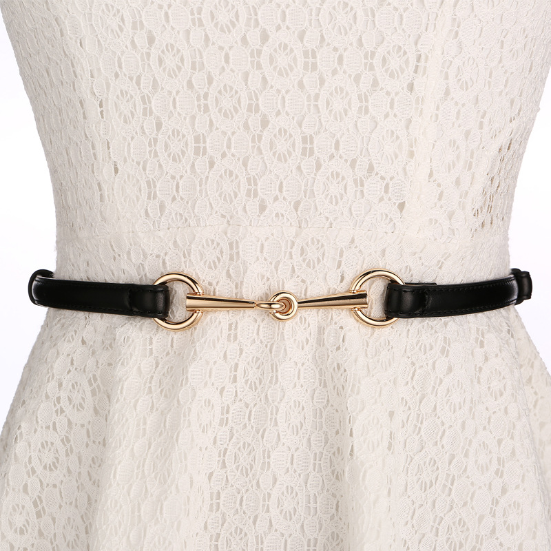 Bright Patent Leather Belts Gold Alloy Buckle Genuine Leather Thin Waistbands Women's Candy Color Cow Leather Strap Girl Dress