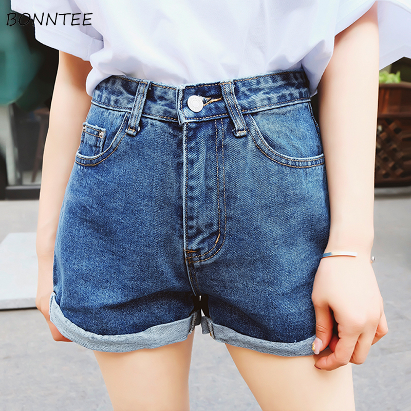 Shorts Women High Quality Denim Short Female Summer Trendy Chic Womens Loose Students Pockets Solid Zipper Wide Leg Daily Korean