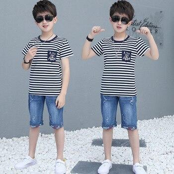 ¡Novedad de 2020! Ropa de verano para niños, conjunto de 4, 6, 8, 9, 10, 12 y 14 años, camiseta de manga corta, pantalones vaqueros, conjunto de pantalón corto para niños y adolescentes