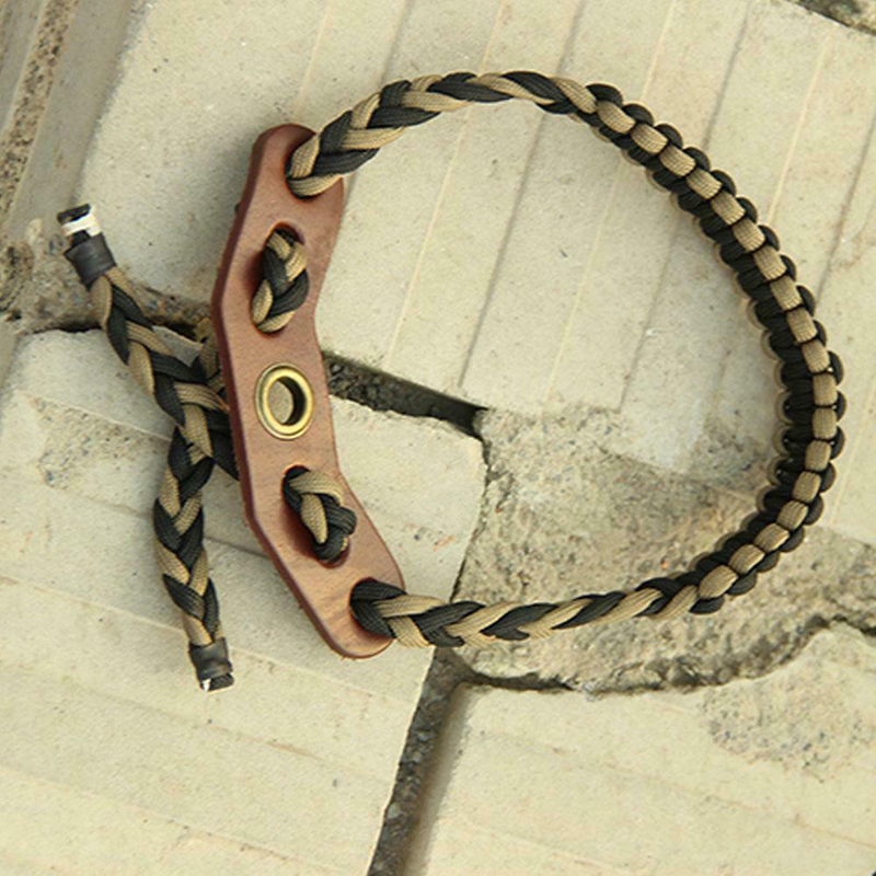 Archery Compound Bow Wrist Sling Braided Cord Rope Leather Sheet 12*4*0.5cm