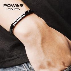 Power Ionics Arrow Style Black Silver Titanium Germanium Health Fashion Bracelet Balance Body Come With Free Adjust Tool