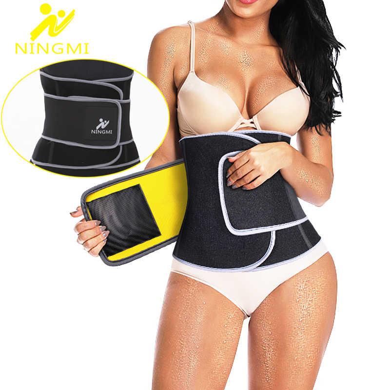 NINGMI Sauna de neopreno entrenador de cintura adelgazante modeladores del cuerpo mujeres pérdida de peso cintura Cincher Corset Fajas Shapewear deportes Top cinturón