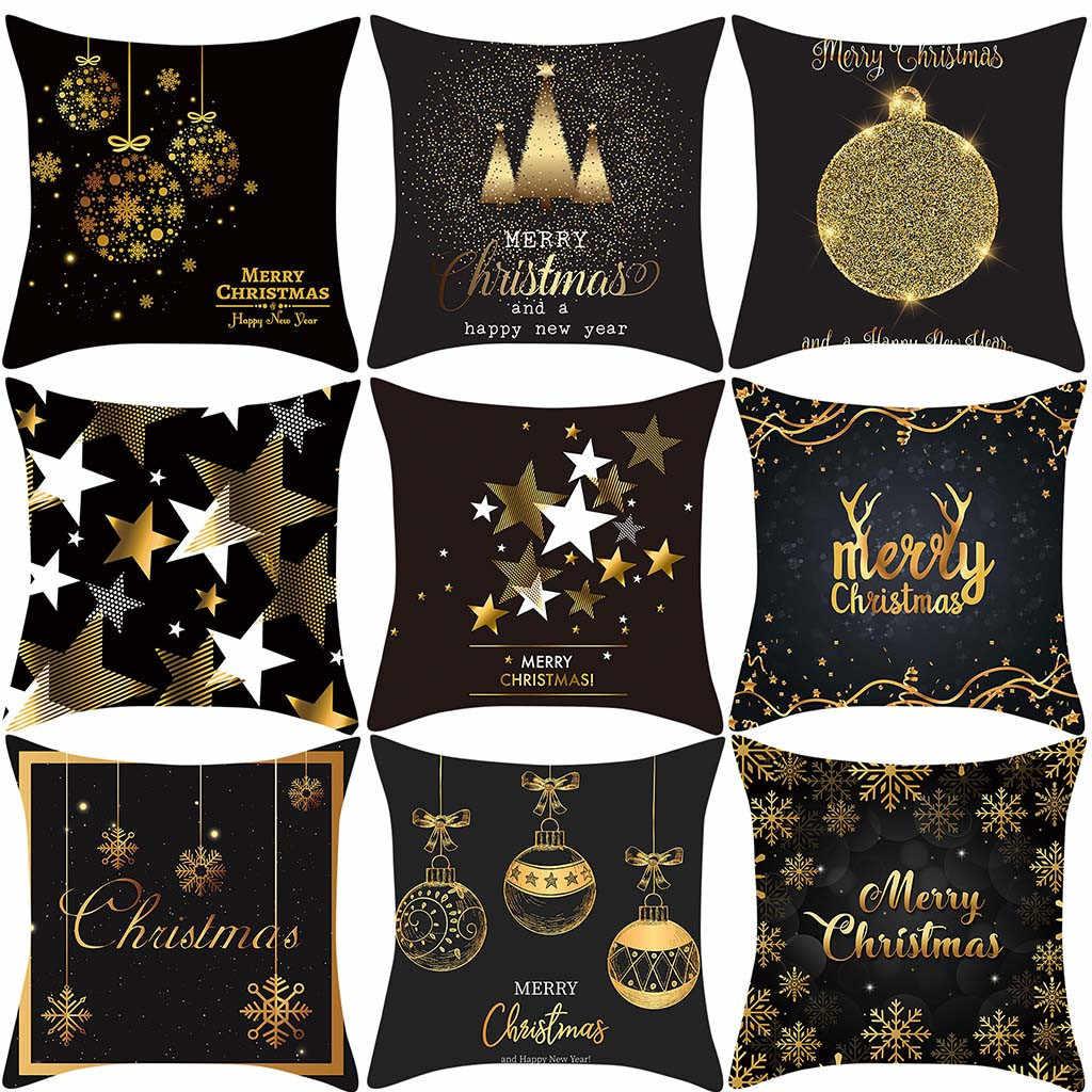 2019 Giáng Sinh Mới Vàng Nai Sừng Tấm Tặng In Đào Da Lộn Áo Gối Sofa Đệm