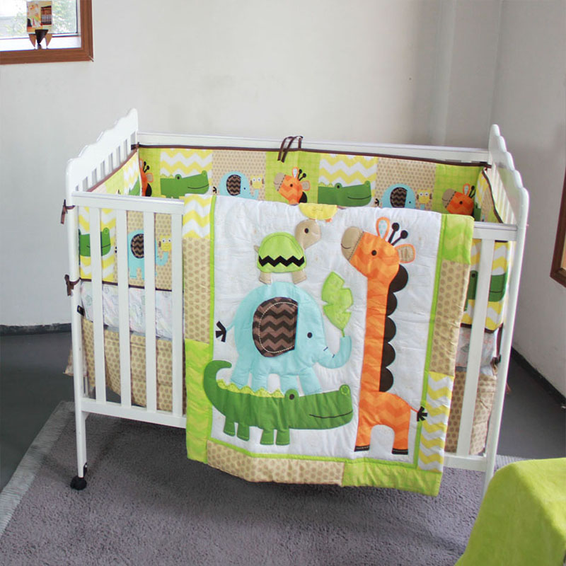 5Pcs/Set 3D Animal Picture Baby Bedding Set  Bumper Crib Mattress Cover  Baby Room Decoration Crib Bedding Set