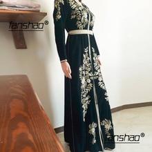Vintage Dubai Evening Dresses Moroccan Kaftan Golden Appliques Velour Saudi Arabic Muslim Special Occasion Party Plus Size