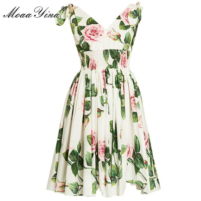 MoaaYina Fashion Designer Dress Spring Summer Women's Dress V-neck Floral-Print Vacation Dresses
