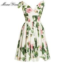 MoaaYina אופנה מעצב שמלת אביב קיץ נשים של שמלת V צוואר פרחוני חופשת שמלות