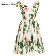 MoaaYina moda tasarımcısı elbise İlkbahar yaz kadın elbise v yaka çiçek baskı tatil elbiseler