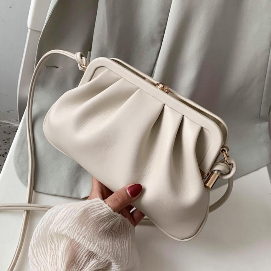 Solid Color Pleated Clip Bag 2020 Fashion New High-quality PU Leather Women's Designer Handbag Travel Shoulder Messenger Bag