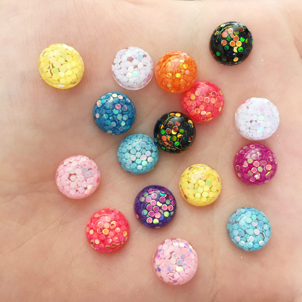 50PCS <font><b>10mm</b></font> Mix Colorful Glitter Round Flatback Resin Rhinestone <font><b>Buttons</b></font> Scrapbook Crafts Diy Jewelry Making Accessories F542 image