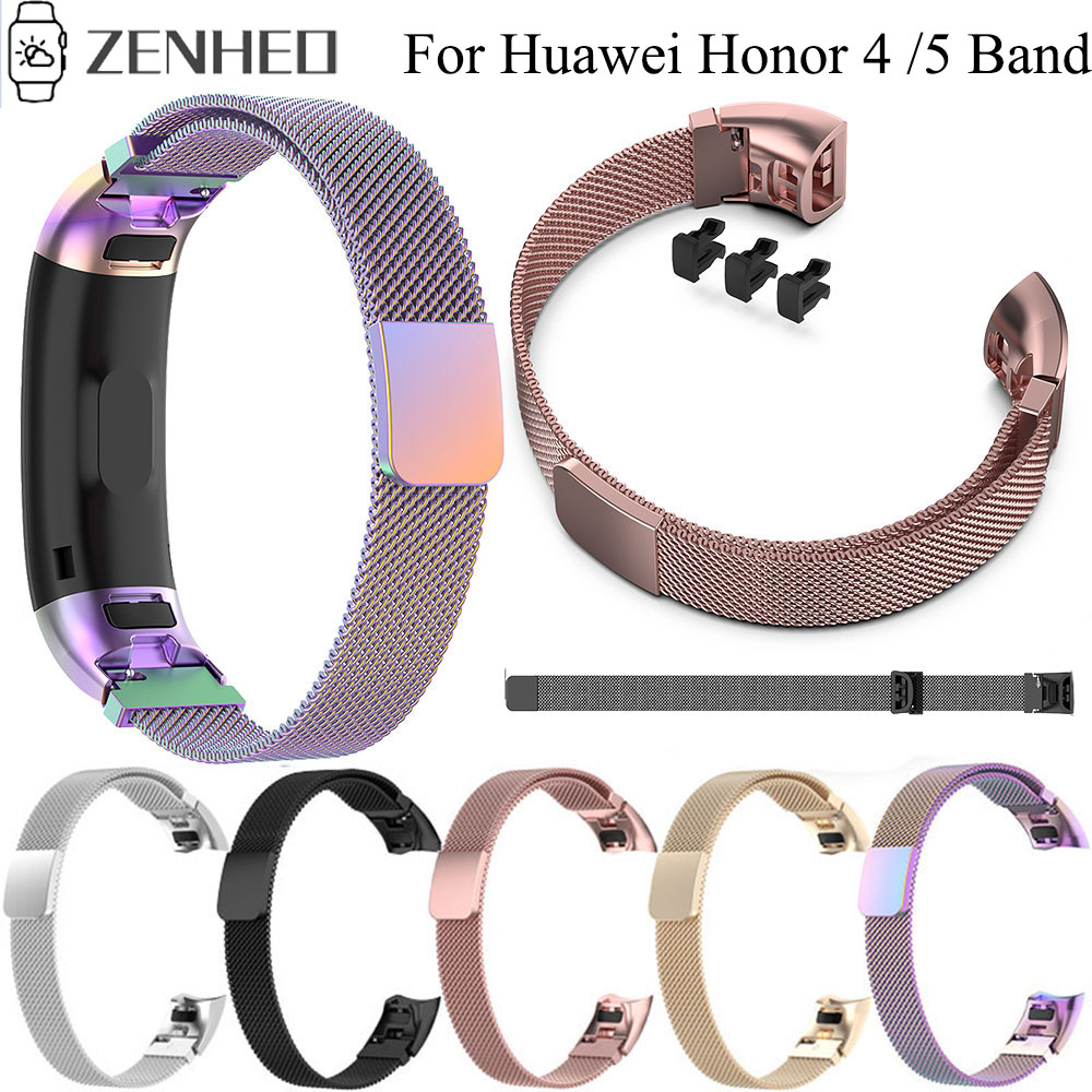 Milanese Stainless Steel Watchband For Huawei Honor Band 5/ 4ENC Smartwatch Band Wristband Replacement Magnetic Strap