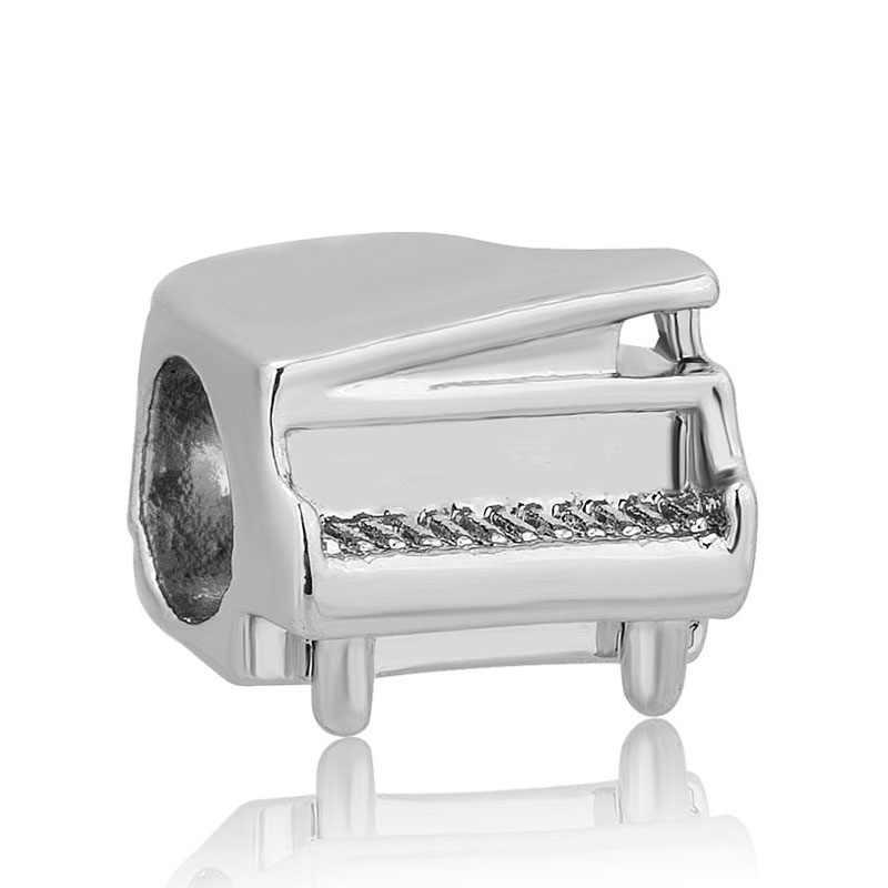 จัดส่งฟรีใหม่ต้นฉบับยุโรป Silver Charm เปียโนกล้อง BEAD Fit สร้อยข้อมือ PANDORA trinket DIY ผู้หญิงเครื่องประดับ