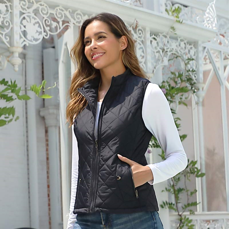 Women's Padded Vest Stand Collar Lightweight Zip Quilted Gilet