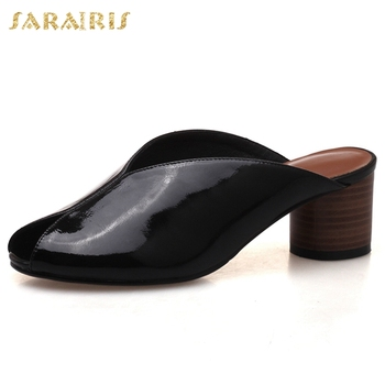 Sarairis 2020 New Design Genuine Cow Leather Summer Pumps Mules Woman Shoes Strange Style Slip On Black Red Shoes Women Pumps