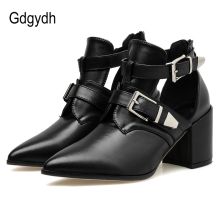 Gdgydh 2019 Autumn Pointed Toe Women Pumps Squre Heels Metal Buckle Cut-outs Soft Leather Zipper Open Single Shoes Drop Shipping