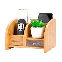 Office Supplies Stationery Pen holder Desk New Fashion Multi-function Bamboo Made Desk Pen Box Storage Box Glosen C2037 цена 2017