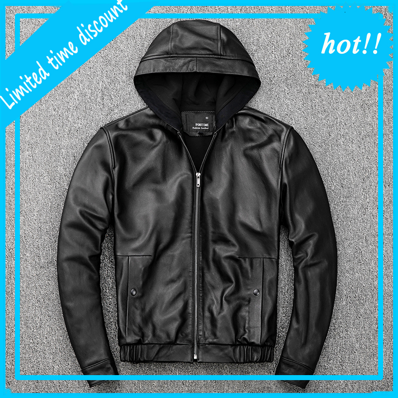 2020 New Men's Black Hooded Jacket Casual Male vintage Flight Jacket Genuine Sheepskin Slim Fit Casual Russian Leather Coats