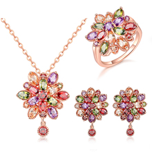 Fashion Elegant Charm Multicolor Crystal Flower Pendant Necklace Earring Ring Set Zircon Jewelry for Women Girls Party Wedding