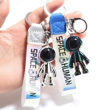 Fashion Robot Spaceman Astronaut Keychain Acrylic Rocket Saturn Alien Pendant Couple Keyrings Backpack Jewelry Key Chain Bag Car(China)