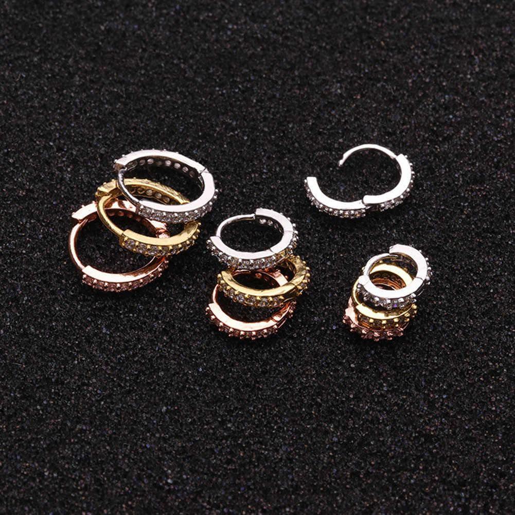 1 pc real perfurado septo nariz anéis daith gem cartilagem tragus piercing orelha septo helix clicker anéis conch rook piercing jóias