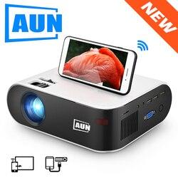 Aun Mini Projector W18C, 2800 Lumen, 854*480P, Draadloze Sync Display Voor Telefoon, led Draagbare Home Cinema Voor 1080P Video Beamer