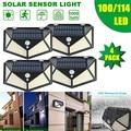 100/114 светодиодный солнечный свет четырехсторонняя Сенсорная лампа 3 режима 270 градусов угол движения наружные водонепроницаемые садовые ла...