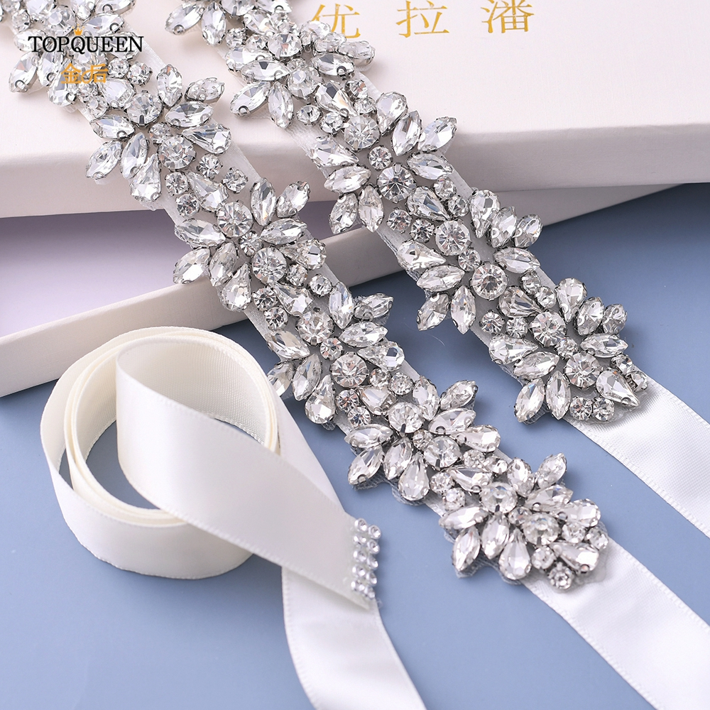 Купить с кэшбэком TOPQUEEN S269 Crystal Rhinestones Bride Belts Evening Party Gown Dresses Accessories Wedding Belt Waistband Bridal Belts Sashes