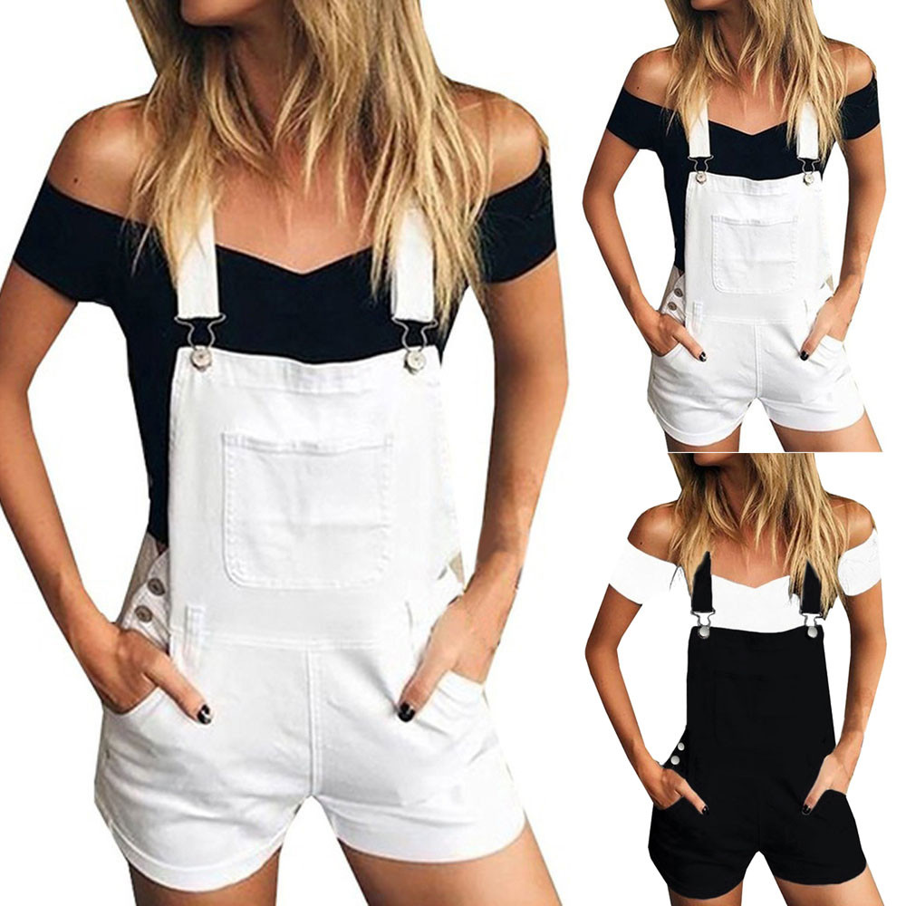 Women's Casual Jeans 2020 Women Loose Denim Bib Hole Pants Overalls Jeans Demin Shorts Jumpsuit Plus Size#G30