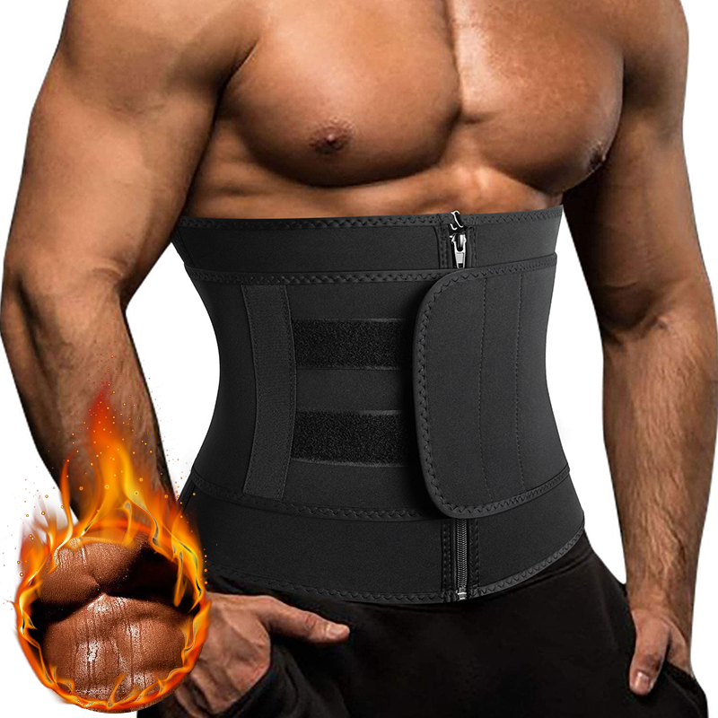 Sauna Workout Waist Trainer Trimmer for Men Weight Loss Neoprene Body Shaper Sweat Belly Belt with Adjustable One Straps Corset