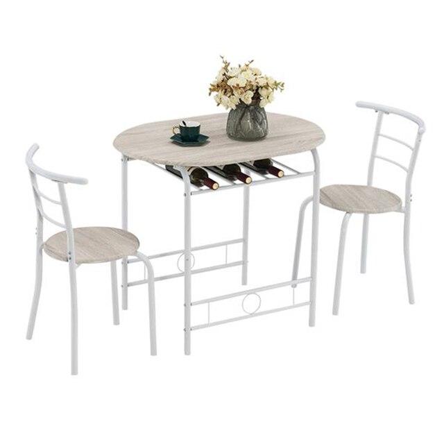 80x53x76cm Oak White Breakfast Table Set  1