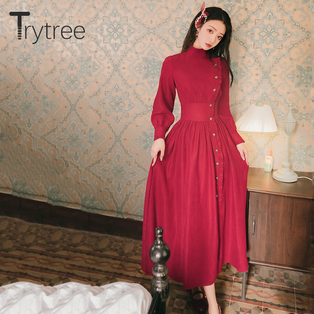 Trytree 2020 Autumn Winter Casual Women's Dress Corduroy Stand Collar Side Buttons Puff Sleeve Ankle-Length A-line Vintage Dress 4