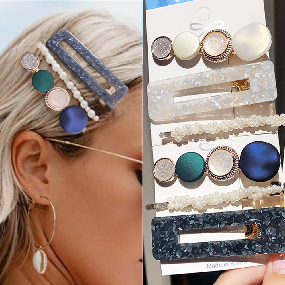3PCS/Set Fashion Pearls Acetate hairpins Geometric Hair Clips For Women Girls Headband Sweet Hairpins Barrettes Hair Accessories
