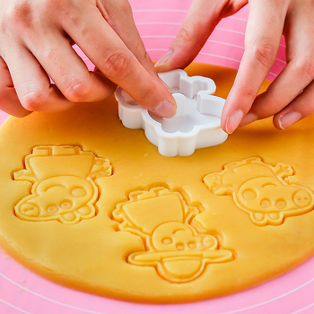 6 pieces Peppa pig 3d Push Baking mold Figure model set of cookie cutters birthday party Decoration supplies Kids for toys gifts