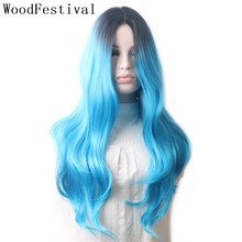 WoodFestival Ombre Synthetic Wig Heat Resistant Multicolored Red Black Blue Pink Brown Mint Green Long Wavy Hair Wigs for Women