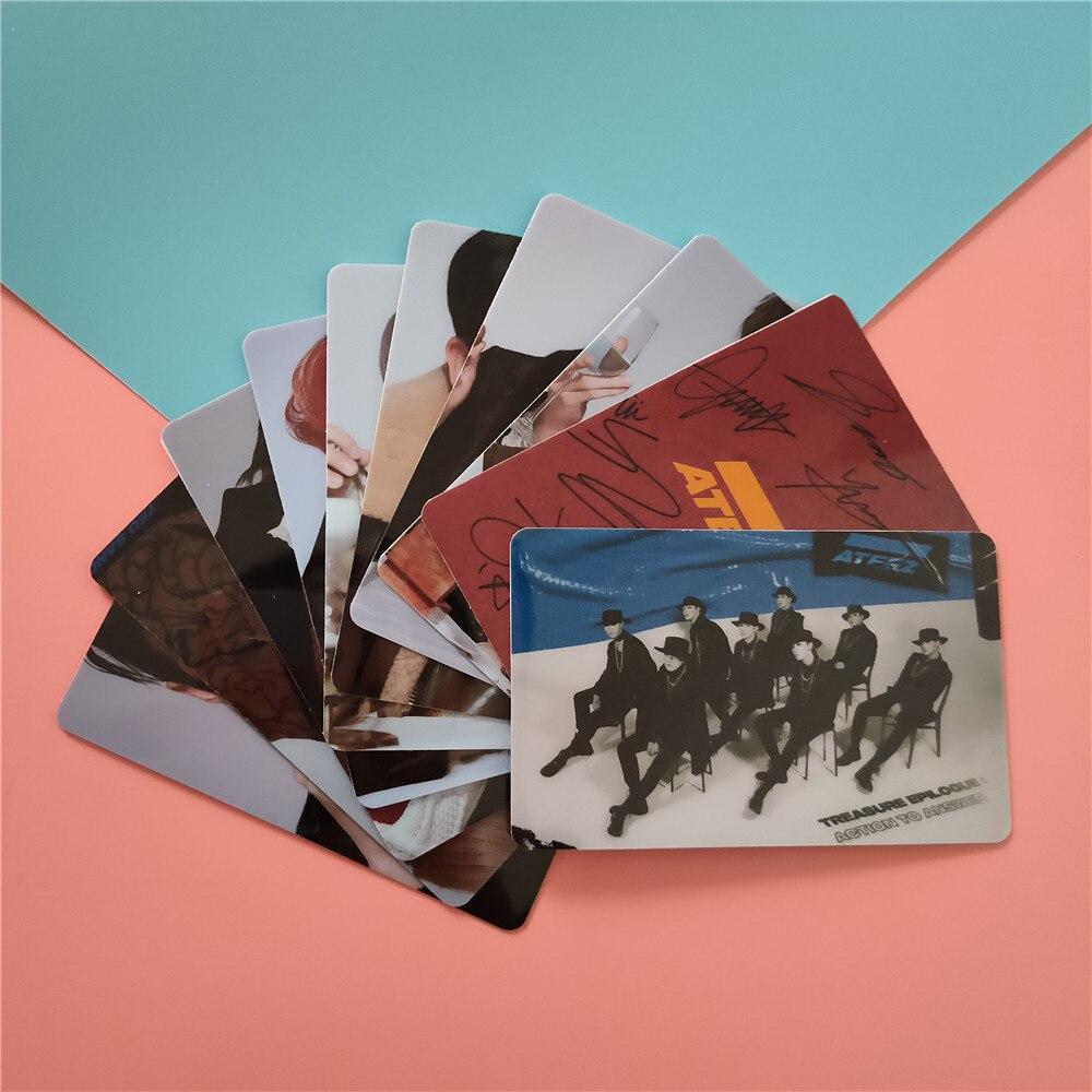 10pcs/set Kpop ATEEZ Card Stickers New Album ACTON TO ANSWER Kpop Ateez Photocard Crystal Photo Lomo Card Stickers