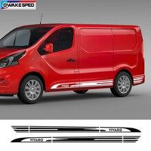 Autocollant de jupe latérale de porte de voiture de course à rayures, pour Opel VIVARO L1 L2 L3, décor de carrosserie automobile, décalcomanie en vinyle, accessoires extérieurs de bricolage
