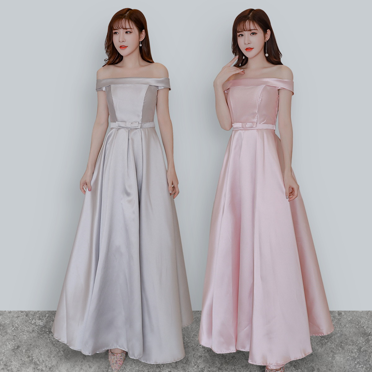 Pink Bridesmaids Dresses Elegant Wedding Guest Dress Ladies Sister Party Boat Neck Floor-length Simple Dance Sexy Prom Vestido