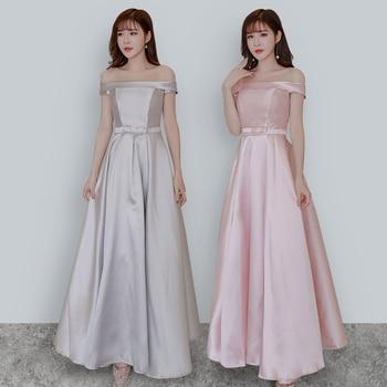 Pink Bridesmaids Dresses Elegant Wedding Guest Dress Ladies Sister Party Boat Neck Floor-length Simple Dance Sexy Prom Vestido