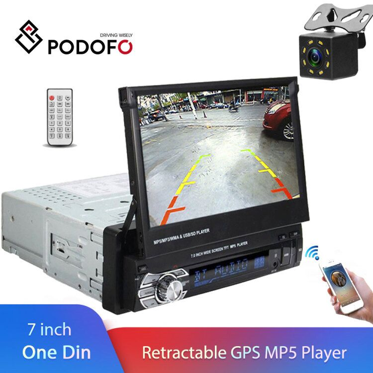 Podofo 1 din 7 Universal Car Radio GPS Navigation Autoradio Video Player Bluetooth Retractable Touch Screen MP5 Stereo Audio image