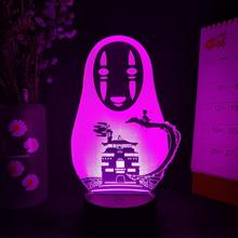 Novelty Spirited away No-Face Image 3D Illusion Night Light for Computer Desktop Decor Touch Sensor Lamp for Bedside Lighting cheap CHUBAN Atmosphere CN(Origin) Bedroom Decoration Lamp Night Lights LED Bulbs Dry Battery HOLIDAY 0-5W ROHS 3D Anime Lamp