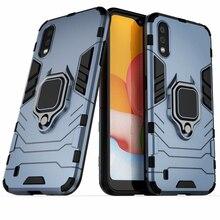 Dla Samsung A01 SM-A015F/DS Case pierścień stojak zderzak silikonowy + PC telefon tylna pokrywa dla Samsung Galaxy A01 A 01 Funda dla A01