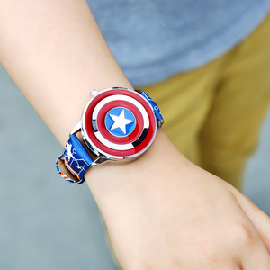 Image 5 - Marvel Avengers Captain America Child Leather PU Waterproof Children Quartz Flip Metal Case Watches Disney Super Hero Boys Clock