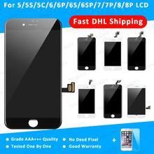 10 조각 DHL 배송 교체 터치 디지타이저 어셈블리 학년 AAA + 디스플레이 LCD 아이폰 5 5S 6 6S 7 8 플러스 스크린