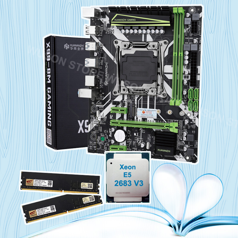 HUANANZHI X99 LGA2011-3 motherboard with M.2 NVMe slot discount motherboard bundle CPU <font><b>Xeon</b></font> <font><b>E5</b></font> <font><b>2683</b></font> <font><b>V3</b></font> RAM 32G(2*16G) 2400 DDR4 image